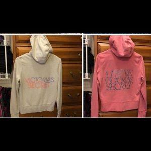 TWOVictoria secrets zip up hoodies